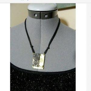 """TRIBAL Style Necklace 18"""" Black Goldtone swirls"""